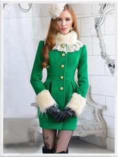 winter jackets, green lace, morpheus boutiqu, hair collar, winter fashion, ruffl hair, winter coats, women's coats, lace ruffl