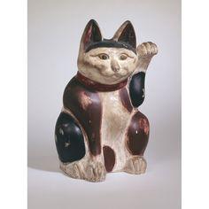 "Maneki Neko - Painted Clay. Showa Period, Circa 1926. 23-1/4"" x 14-1/2"" x 11"" (59.06cm x 36.83cm x 27.94cm)."