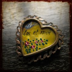Antique French hand painted love heart Brooch  by frenchfeelings, $38.00