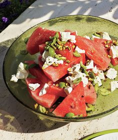 Watermelon, Green Olive,and Pistachio Salad