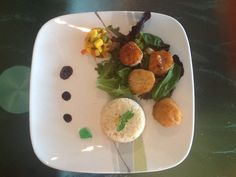 Seared Scallops pan deglazed with Apricot-Pineapple Jam. Served with ...