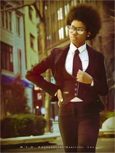 I adore frequenting this look. #blackfashion outfits, tomboys, fashion, god, person develop, style, natur hair, ties, suits
