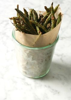 Cheesy Oven Baked Crispy Green Bean Fries /
