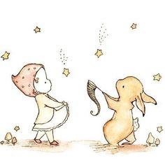Little girl catching the falling stars with her bunny.