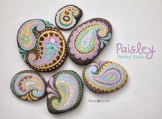 Pastel Paisley Painted Rocks