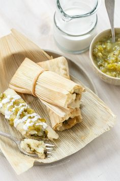 Homemade Tamales with Roasted Poblano and Cheese Filling #maincourse #recipes #healthy #dinner #recipe
