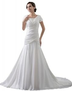 GEORGE BRIDE Short Sleeves Chiffon Over Satin #Wedding #Dress for a mature #bride
