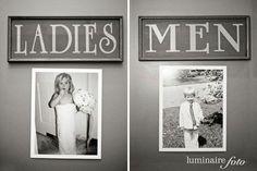 Bathroom Break - hang baby photos of bride and groom on each bathroom door