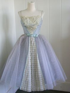 1950's Powder Blue Tulle and Lace Party Dress