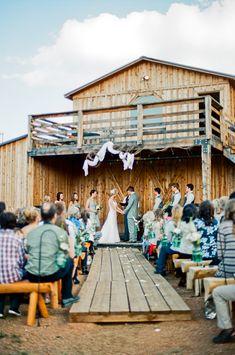 Outside barn wedding