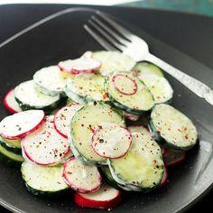 Radish & Cucumber Salad with Garlic-Yogurt Dressing by diethood #Salad #Cucumber #Radish #Healthy