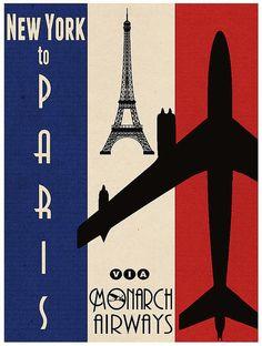 paris, vintag air, cinema, poster vintage new york, monarch airlin, posters, pari poster, monarch airway, air travel