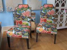 Chair Upholstery: Chiang Mai Dragon in Aquamarine, 173270. http://www.fschumacher.com/search/ProductDetail.aspx?sku=173270