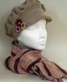Brimmed Cap and Stripey scarf