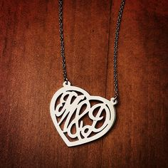 14k White Gold Cut Out Initial Heart Necklace