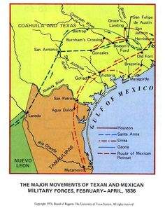 The Major Movements of Texan and Mexican Military Forces, February - April, 1836 (119K)  From Atlas of Texas. Published by The University of Texas at Austin, Bureau of Business Research, 1976.    tex_mex_forces_1836.jpg (653×823)