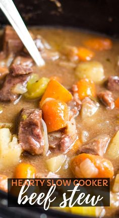 Easy old fashioned slow cooker beef stew made with chuck roast beef, onions, potatoes and carrots. This homemade, hearty and simple stew is the best classic stew recipe! Can't wait to make it again! #beefstew #slowcooker #crockpot