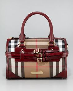 Check Bowler Bag, Medium by Burberry at Neiman Marcus.