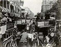 buses, hot summer days, old london, london histori, vintage pictures, 1900, hot days, piccadilli, horsedrawn buse