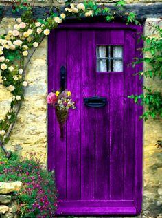 the doors, purple, window, english cottages, door colors, front doors, garden doors, hous, purpl door