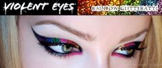 Violent Eyes Tatoo's Rainbow Glitter Liner  http://www.monroemisfitmakeup.com/2013/02/review-violent-eyes-glitteratti-tattoo.html