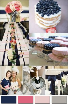 navy blue and pink wedding ideas