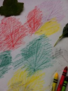 Simple but fun autumn craft idea: leaf rubbing. Just get some crayons and place the leaf under a piece of paper.