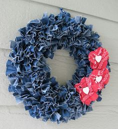 Beautiful wreath created from recycled denim! Featured @totgreencrafts