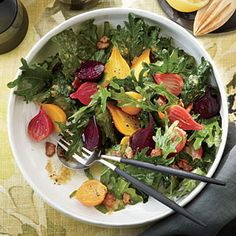 Fizz Kale Salad with Roasted Garlic-Bacon Dressing and Beets | CookingLight.com #myplate #veggies