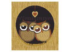Owls Cross Stitch Owl Couple Cross Stitch by NewYorkNeedleworks, $8.50