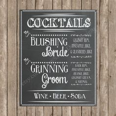 Custom Chalkboard Wedding Signature Cocktail by SavvyDeetsDesigns