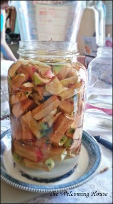 Use up those apple cores I told you to save, by making Apple Cider Vinegar! Follow my directions and....not too long from now you will have beautiful, strong, homemade ACV.......just like our grandmothers used to make throughout the fall and winter for their families.  Come over and join us---the door is always open! :) ~Heather <3