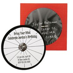 To recruit a fun gang of cycling fans for the Ultimate Bike Birthday Party, send out an invitation that really spins. Deliver it in an envelope designed to hold compact discs; addresses appear in the window, penned in silver on black paper. (Mailing square envelopes costs a bit extra; check with the post office.)