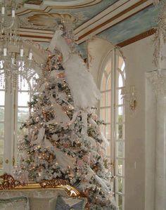 white christmas trees, holiday, xmas trees, vintage christmas, dreamy whites, pink christmas, christmas tree ideas, christma tree, tree topper