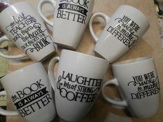 Vinyl mugs, teacher gifts