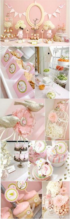 Pink Baby Shower Ideas Birds nest theme #babyshower