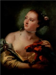 Giovanni Battista Tiepolo - A Young Woman With a Macaw, 1758