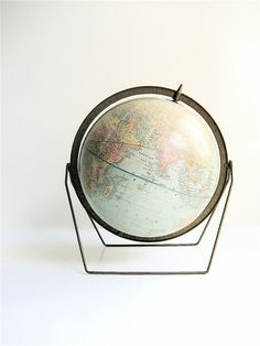 {<3} 1950s Crams Imperial Globe with brass meridian and brass trestle stand
