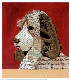 dog paper collage