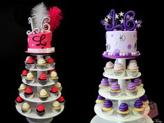 Twin Sweet 16 Cupcake Towers by Pink Cake Box