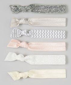 Loving this Silver & Pink Glitter Zigzag Hair Tie Set on #zulily! #zulilyfinds