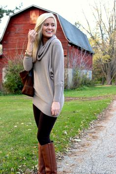 fall fashion 2013- slouchy sweater, leggings and riding boots