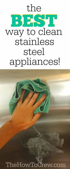 The BEST way to clean stainless steel appliances from TheHowToCrew.com!  #diy #cleaning #tips