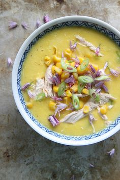 Healthy sweet corn and chicken soup.