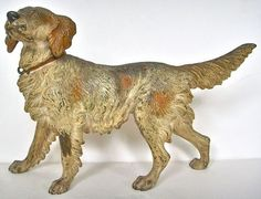 Large Antique 1910 Cold Painted Vienna Bronze English Springer Spaniel Dog