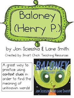 """""""Baloney"""", by J. Scieszka, Teaching Context Clues with the Book!  UK-                                                                          Learningy     Eduacation Relation Site @ http://www.smartyoungthings.co.uk"""