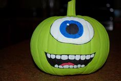 mike wazowski painted pumpkin