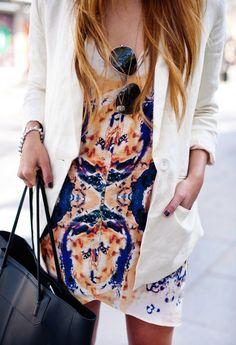Printed dress and white blazer
