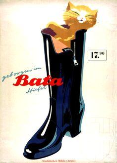 "Vintage Advertising: ""Safe in Bata Shoes"" (Switzerland, 1948)"