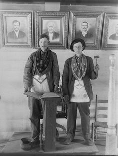 I think these two gents are Masons.    While antiquing in Harrisonburg, VA, I found a box of glass plate negatives. The subjects seem to be in the Appalachian area during World War 1.